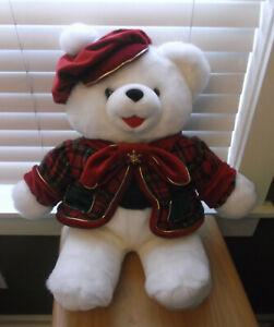 """1999 Snowflake 22"""" White Plush Boy Teddy Bear w/Plaid Coat & Beret Hat"""