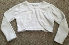 BONNIE JEAN White Pearl and Rosebud Accented Shrug Sweater Girls Size 5