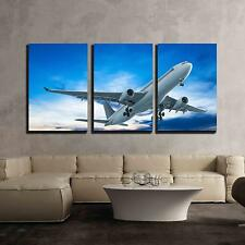 """Wall26 - Commercial Airplane Flying at Sunset - CVS - 24""""x36""""x3 Panels"""