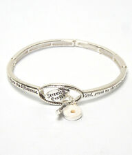Serenity Prayer Mustard Seed Cross AA AL-ANON Religious Stretch Charm Bracelet