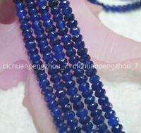 Faceted 4X6mm Blue Sapphire Abacus Gemstone Rondelle Loose Beads 15'' Strand