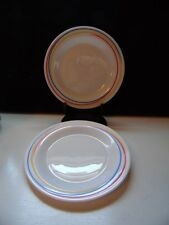 "2 Arcopal Fireworks White Glass W/ Red Blue & Yellow Trim 7 1/4"" Salad Plates"