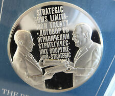 1972 USSR PRESIDENT BREZHNEV PRESIDENT NIXON STERLING SILVER PROOF PEACE MEETING