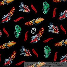 BonEful Fabric FQ Cotton Quilt Sport CAR Red Flame Fire Match*box Hot Wheel Boy