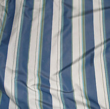 Drapery Weight White/Blue/Green Stripe Fabric-20YDS