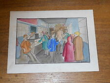 Vintage Cartoon Drawing & Watercolor Painting - Al's Place - Nanette Gurizzian