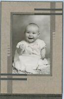 Antique Studio Photo in Folder - Cute Baby, Big Smile - Wearing Cross on Chain