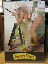 Vintage Painter's stroke Car Garage poster man cave hot girl 1986