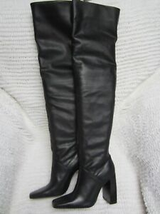 Zara Womens Black Leather Over The Knee THIGH  HI Slouch Boots Sz 6  NWT