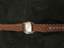 JJ QUARTZ WATCH JAPAN MOVEMENT BROWN AND PINK RIBBON BAND WATCH PRE-OWNED