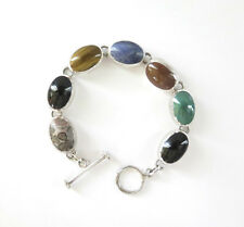 "Sterling Silver Bracelet Vtg ATI MEXICO Multi Gemstone Toggle 7.5"" 42.1g  925"