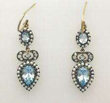 9ct Gold Antique Style Drop Earrings set with Diamonds Pearls & Aquamarine..
