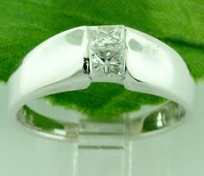 Ring Band (2) princess cut Pre owned 0.40ct 14k Solid White Gold Natural Diamond