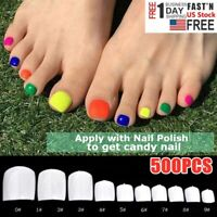 500Pc False Fake Artificial Toe French Foot Tips Acrylic Professional Nails Tips