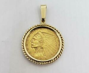 1913 US Gold $2.50 Indian coin with 14k Bezel and bail 5.40 gram L9978