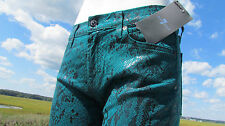 NEW 7 For All Mankind sz 29 jeans green snake skin black sexy leggings glossy
