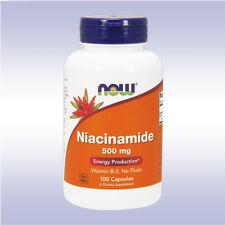 NOW NIACINAMIDE 500 MG (100 CAPSULES) niacin b-3 vitamin energy boost no flush