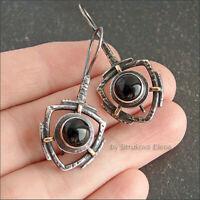 Vintage 925 Silver Black Sapphire Onyx Dangle Wedding Drop Earrings Jewelry