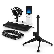 auna LED USB Kondensator Studio Mikrofon Set Spinne Tischstativ Tasche weiss