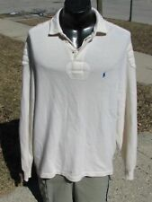 Men's Polo Ralph Lauren 100% Cashmere Ivory Cream Rugby Sweater - Size XL