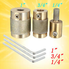 """3Pcs Brass 1"""" 3/4"""" 1/4"""" Core Standard Grit Stained Glass Grinder Head Bit Tool"""