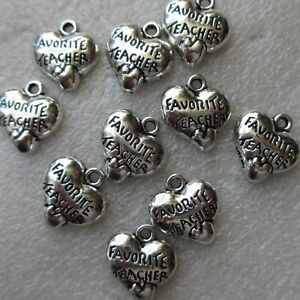 10 'Favourite Teacher' Heart Charms. SP.  Gift, Crafts Jewellery Making