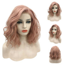 Women Lace Front Short Bob Wave Wigs Synthetic Curly Wavy Full Hair Wig Costume