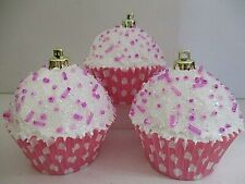 Set of 3 Christmas Candy Cupcake Ornaments w/ beads ~ Pink Polka Dot