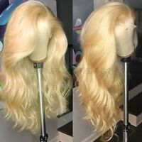 Glueless Wavy 613 Blonde Lace Front Wig 100% Real Brazilian Human Hair Full Wigs