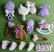 Baby girl new arrivée teddy hochet pieds cigogne rose dress it up craft boutons