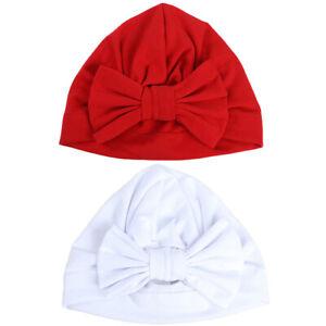 2 PCS Baby Toddler Girls Elastic Turban Hat Bowknot Beanie Hat Hair Head Wrap