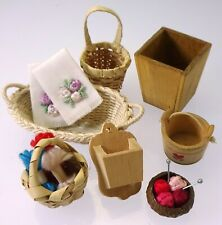 Dollhouse Miniature Accessories Baskets Wood Containers Knitting Supplies Linens