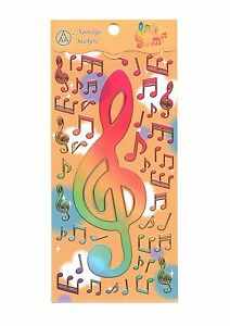 NEW giant treble clef musical notes shiny stickers sheet size 20cm X 9cm