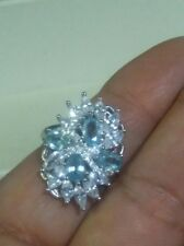 NATURAL BLUE ZIRCON CUBIC ZIRCONIA 925 STERLING SILVER RING SIZE 9