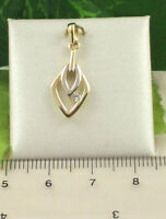 Sassi P1016 Ladies Two Colour 9ct 375 Gold Cubic Zirconia CZ Set Pendant Only