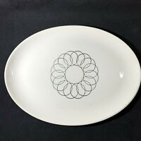 Vintage Stetson China Oval Platter Black and White Concentric Circles MCM