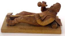 Hand Carved Folk Art Wood Lumberjack in Bib Overalls w' Drinking Gourd & Axe