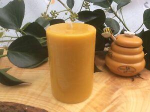 Yellow Chunky Beeswax Pillar Candle - Handmade In Devon 100% Beeswax Natural