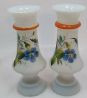 """2 ea Antique Hand Blown Art Glass Vase with Painted Flowers 6.5""""H"""