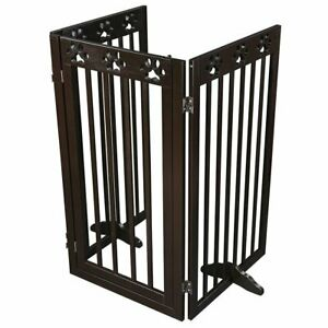 Folding Pet Gate Portable Wooden Retractable Dog Fence Baby Safety Expanding