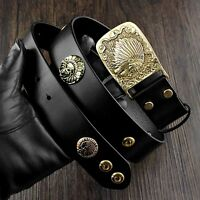 Cool ! Solid Brass Buckle Biker Rock Men's Real Leather Belt