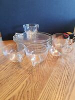 Hazel Atlas Orchard Clear Apple Shape, 5 Snack Set Plates & Cups