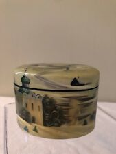 Russian Fedoskino Signed Hand-Painted Lacquer Box Mother-of-Pearl Snow Scene