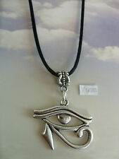 "A Egyptian Eye of Ra Tibetan Silver Charm Pendant, Long 30"" black Chain Necklace"