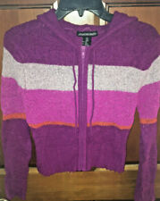JONATHAN MARTIN STRIPED ZIP UP HOODED SWEATER WOMEN'S SIZE SMALL