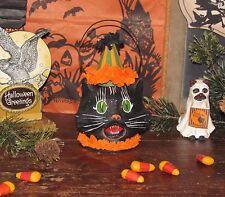 Primitive Antique Vtg Style Halloween Paper Mache MINI SASSY CAT LANTERN Bucket