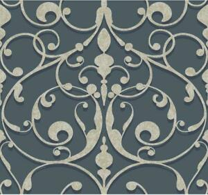 Wallpaper Candice Olson Gray and Black Large Scroll on Pearlized Navy