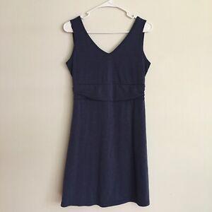 Title Nine Breeze Frances Dress Zip Pockets Fit Flare Navy Blue Size S