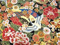 "Japanese Fabric Oriental Patchwork Craft kimono W44xL16""(110x40cm) cotton #003"