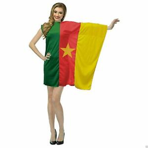 Ladies Cameroon Country Flag Dress Football Fancy Dress Costume